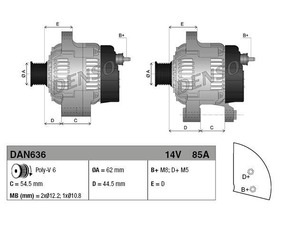 Alternator Alfa Romeo, Fiat, Lancia, 85 A, 62 mm